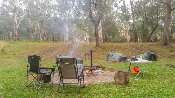 The fire pit set up at a Timbarra free camping site