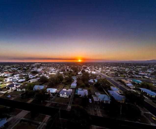 drone view of Maffra Australia