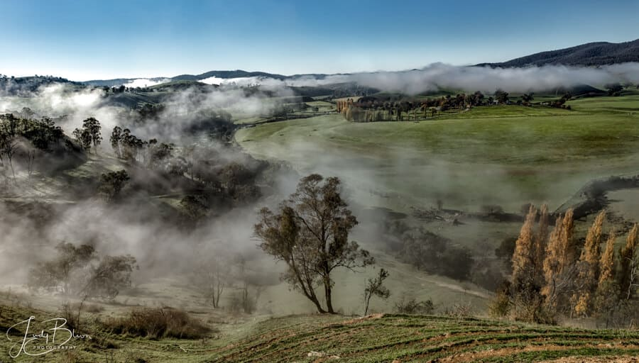 Buchan Valley Gippsland Australia on a misty morning. It is one of the best places to photograph in Gippsland for its valleys and bush settings